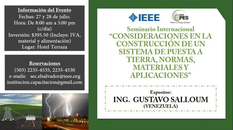 Seminario Internacional: Consideraciones en la construcción de un sistema de puesta a tierra, normas, materiales y aplicaciones