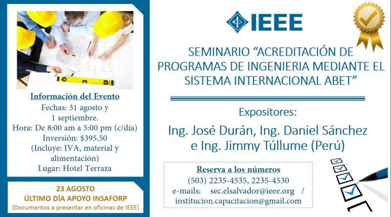 """Seminario: """"Acreditación de programas de Ingeniería mediante el Sistema Internacional ABET"""""""