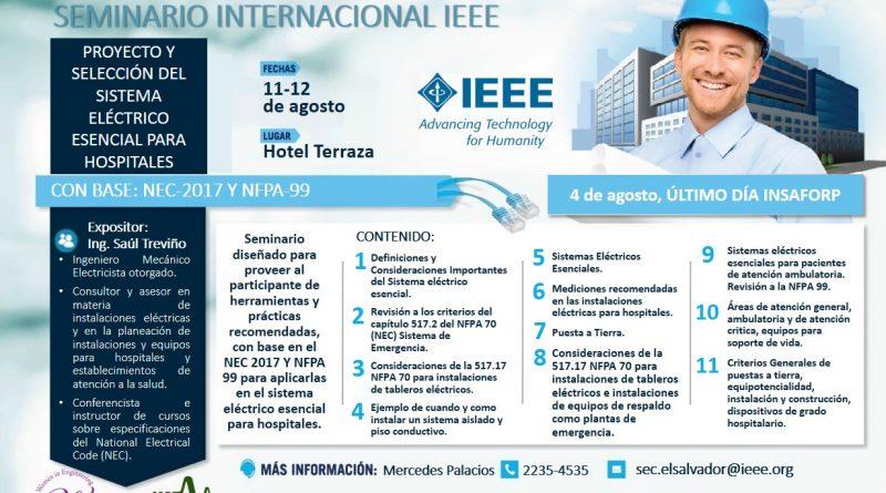 """Seminario internacional: """"Proyecto y selección del sistema eléctrico esencial para hospitales: Enfoque 2017 y NFPA 99"""""""